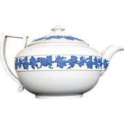 Wedgwood Teapot, Rare White Ware Dry Body, Blue Relief, Antique, Marked Wedgwood Only