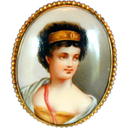 Porcelain Portrait Brooch, Woman with Golden Headband, Antique
