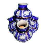 Westerwald Quadruple Specimen Vase, Cobalt & Manganese Glaze,  Antique German Stoneware