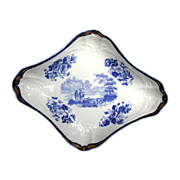 John Turner Dessert Dish, Signed, English Blue & White Transferware, Antique c1805