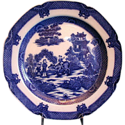 Boy on a Buffalo Plate, 18thC English Blue Transferware,  Antique Pearlware