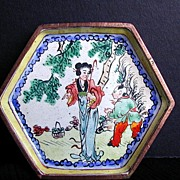 SALE Chinese Canton Enamel Small Hexagonal Dish, Handpainted Woman and Boy