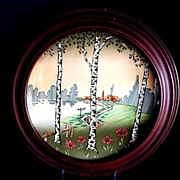 SALE Majolica Plate or Plaque, Scenic Birch Trees, Antique
