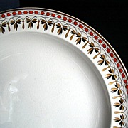 Wedgwood Dinner Plate, Rust, Gold & Black, Pattern 9146, Antique 19thC English