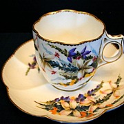 George Jones Cup & Saucer, Handpainted, Antique 19thC English