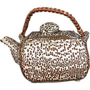 Japanese Teapot,  Mingei Pottery, Jakatsu Glaze, Antique 19thC Meiji Era