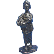 SALE Japanese Bronze Okimono, Sculpture, Young Woman, Antique, Meiji Era