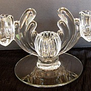 Heisey Candlestick, ,Elegant Glass Crystolite 3 Light  Blank #1503