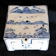 SALE Korean Water Dropper, Square Form, Underglaze Blue, Antique, As Is