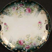Hand Painted Pink & White Rose Cake Plate