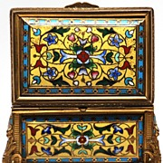 Antique French Signed TAHAN  Champleve Jewel Casket/Box