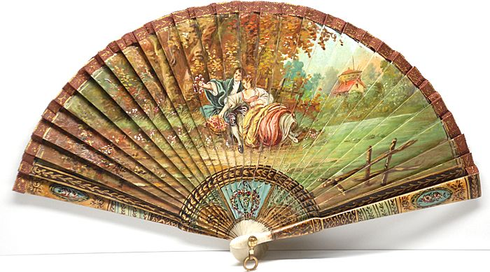 Nineteenth Century French Hand Painted Vernis Martin Fan From Parischateau On Ruby Lane