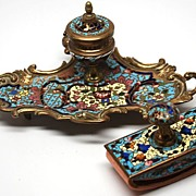 SOLD Napoleon III French Champlev� Bronze Lady's Desk Set