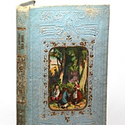 SOLD Gilt Embossed French Book with Color Lithograph Medallion