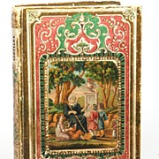 SOLD Embossed French Book with Color Lithograph Medallion circa 1850