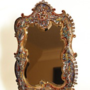 SOLD French Champleve Enamel Bronze Mirror