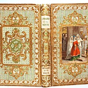 "SOLD Antique Gilt Embossed French Romantic ""Prize"" Binding with Color Lithograph"