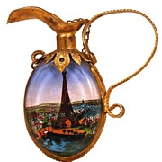 "SOLD Antique Nineteenth Century ""Grand Tour"" Eglomise Perfume Bottle/Mirror"