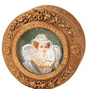 Napoleon III Gilt Dore Trinket Box with Hand-Painted Portrait on Ivory