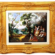 "SOLD Large Hand Painted Limoges Enamel Wall Plaque ""L'Oiseleur"" artist Restoueix aft"