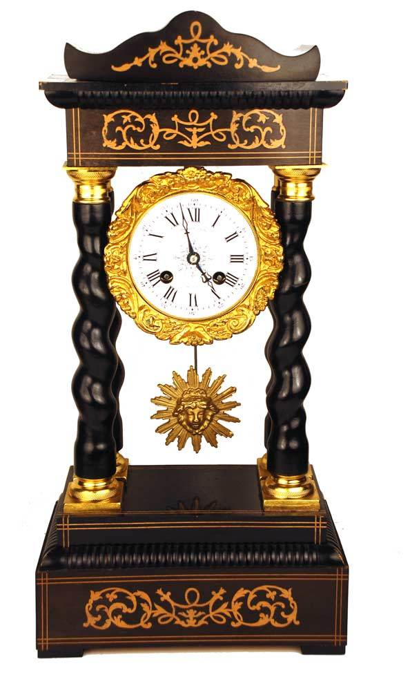 Antique French Napoleon III Clock w/Barley Twist Columns