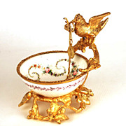 SOLD Antique Napoleon III Gilded Metal and Porcelain Vide Poche/Porte Montre