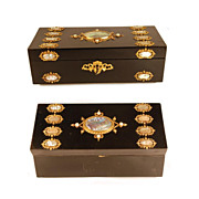 Antique French Desk Box w/Mother of Pearl Medallions and Bronze Dor� Ormolu