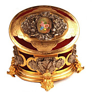 Antique Napoleon III  Argent� and Dor� Coffre a Bijou (Jewelry Box) w/Silver Plated and Gilded