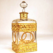 Large Antique Napoleon III Scent Bottle w/Gilded Brass Ormolu
