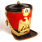 Antique Nineteenth Century Desk Box in the form of Military Hat