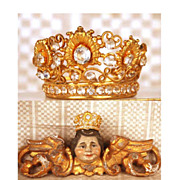 SOLD Antique Nineteenth Century Miniature Santos Diadem Crown