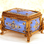 "Antique Napoleon III Kiln Fired Enamel ""Tahan"" Box w/ Gilded Bronze Mounts"