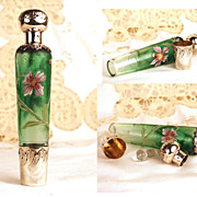 "Antique French Glass and Sterling Silver Flacon ""a Eau de Melisse"""