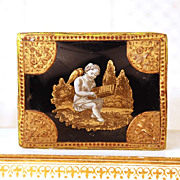 Antique Nineteenth Century French Confection Box w/Eglomise Scene