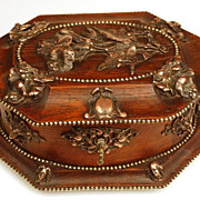 Antique Nineteenth Century French Oak and Copper Mount Coffre