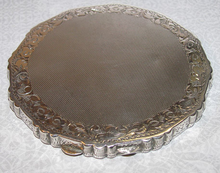 Antique Czech Coin Silver Loose Powder Box Compact Ca. 1900's