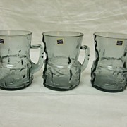 SALE Bjorkshult Sweden Art Glass Mugs, Set 3