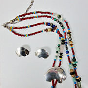 SALE Native American Bear Fetish Sterling Beads Stones Necklace Earrings Set Signed