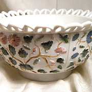 SOLD EAPG Challinor Decorated Milk Glass Tree of Life Bowl Lace Edge