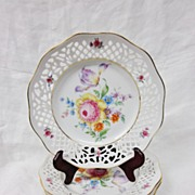 SALE Set 3 Schumann Dresden Flowers Reticulated 7.5� Plates