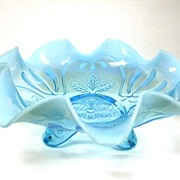 SALE Jefferson Meander Aqua Spatula Footed Opalescent Bowl