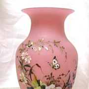 SOLD 19th Century Bristol Pink Satin Glass Enamel Butterfly Mantle Vase