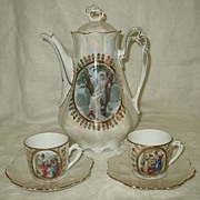 German Bavarian Luster Chocolate Pot & Cups Set