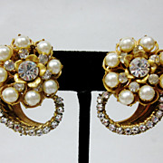 Vintage Miriam Haskell Gold Tone Faux Pearl White Rhinestone Clip On Earrings Signed