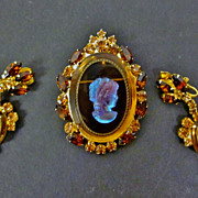 D&E Juliana Topaz Iridescent Glass Rhinestones Cameo Brooch Pin Pendant Earrings