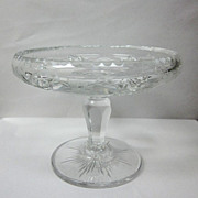 SALE Hawkes Etched Cut Crystal Pedestal Bowl Nut Dish Signed