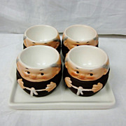 SALE Vintage Goebel Monk Friar Tuck Set 4 Egg Cups & Tray
