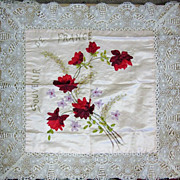 WWI Souvenir Silk Pillow Sham Battenberg Lace Hand Stitched France
