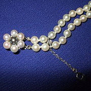 Art Deco Double Strand Cultured Pearls 14K Gold Diamond Bracelet