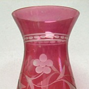 SALE Etched & Flashed Cranberry Glass Hurricane Shade